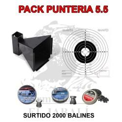 PACK PUNTERÍA 5,5 CAZABALINES + 100 DIANAS + 2000 BALINES